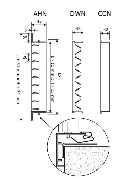 AHVN-W fehér kétsoros aluminium fali rács