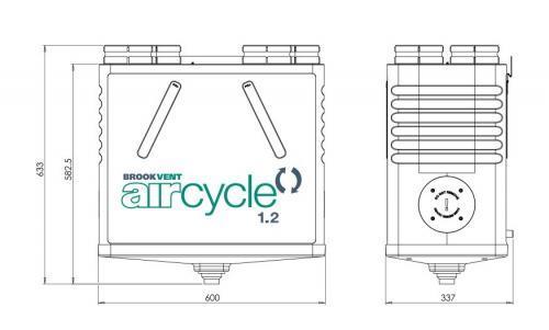 Brookvent Aircycle 1.2 kozponti hovisszanyeros szellozteto meretek