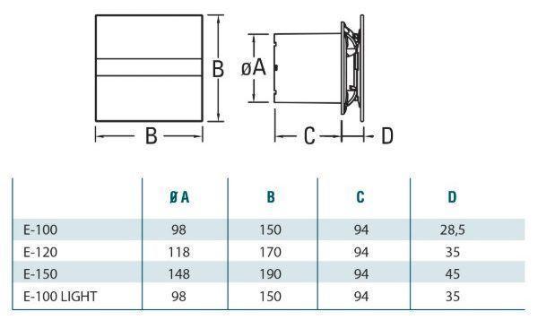 CATA E-GLAS fürdőszoba ventilátor üveg előlappal diagram