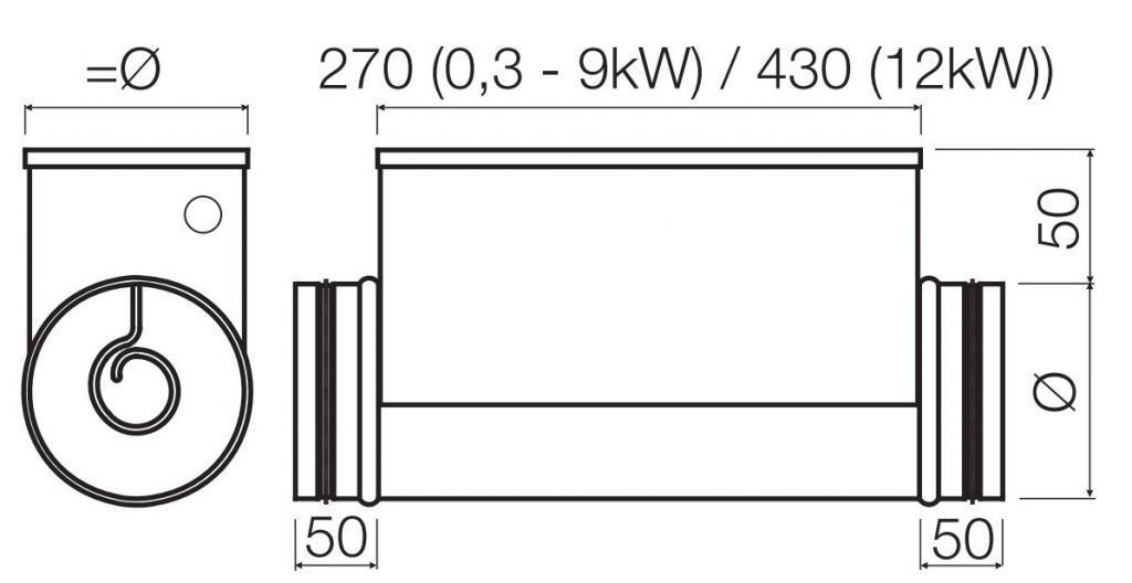CVA-M Elektromos fűtő kalorifer méretek