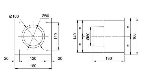 PLENUM csatlakozó doboz BCRG szelephez műszaki
