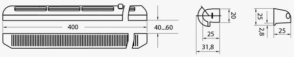 PO 400 ablakra szerelhető légbevezető méretei