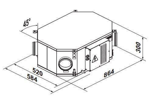 VUE2 250 PU EC hővisszanyerős központi szellőztető méretei