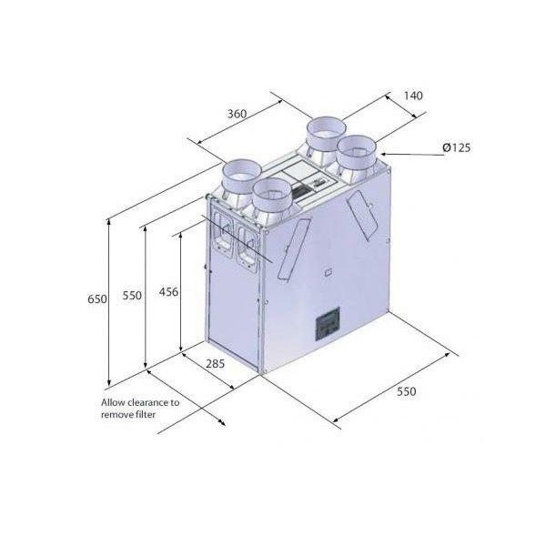 Vent-Axia KINETIC PLUS B méretek