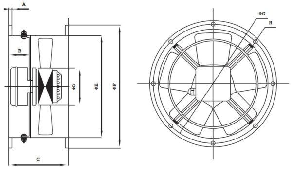 FR-BC csőperemes ipari axiál ventilátor méretek