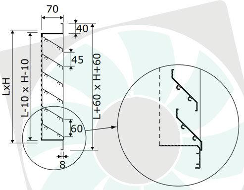 BLR-A60 alumínium esővédő rács méretek