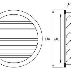 BLR-GD kör keresztmetszetű alumínium esővédő rács méretei