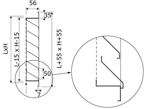BLR-S50 horganyzott esővédő rács méretei