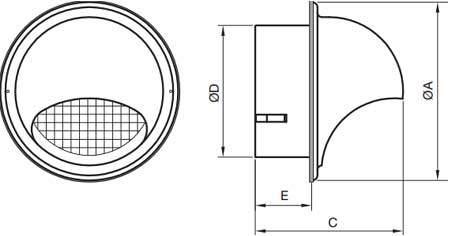 BLR-E-RL Rozsdamentes acél kültéri esővédő rács méretek