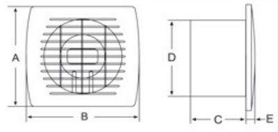 Europlast E wc-fürdőszoba ventilátorok mérete