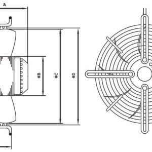 FR Axiál fali ventilátor védőráccsal