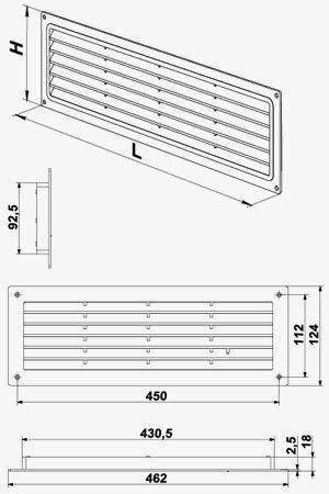 MV 450 ajtórács méretei