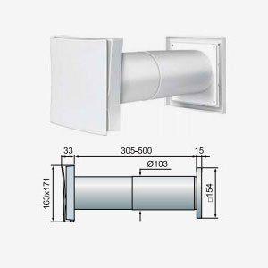 PS-101 Fali légbeeresztő méretei