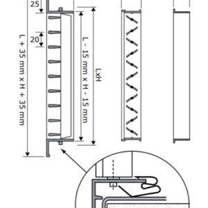 SHVN kétsoros acél fali szellőzőrács méretei