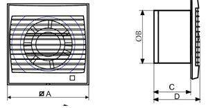 Silhouette fürdőszobai ventilátor méret