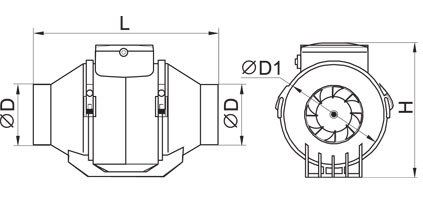 TT MIX ipari elszívó ventilátor méretei 100-160 csőátmérőhöz