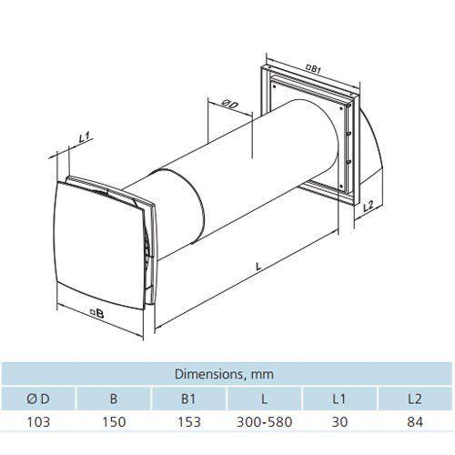 VENTS Twin Fresh SOLO RA-1-35-9-R egyhelyiséges hőcserélő méretei
