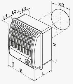 VCF centrifugális szellőző ventilátor méretei