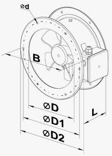 VENTS VKF csőperemes axiál ventilátor méretei