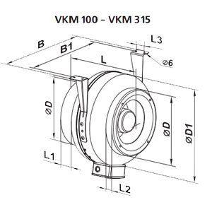 VENTS VKM 100-315 fémházas csőventilátor mérete