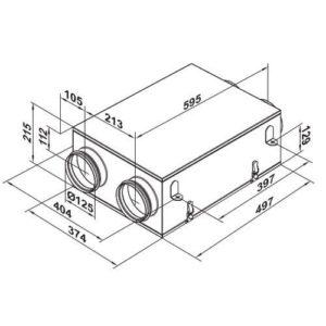 VUE 100 P mini hővisszanyerős szellőztető méretei