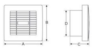 XZ zsalus szellőző ventilátor méretek